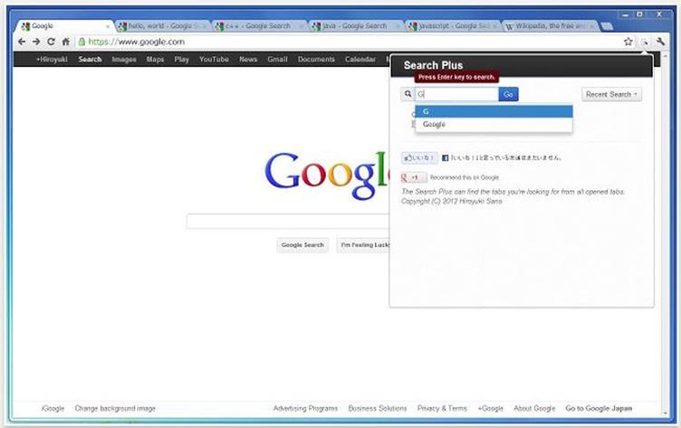 Search Plus Google Chrome extension