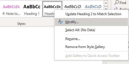 Modify style command seen when you right-click on a style