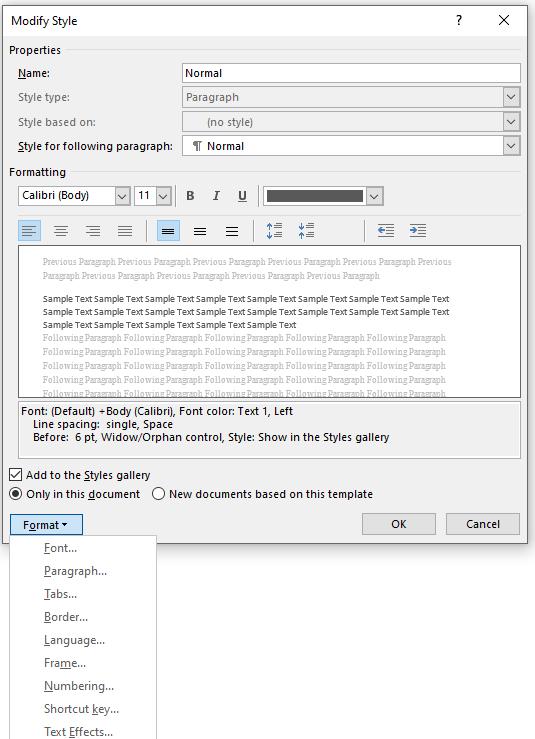 The Modify Style dialog box