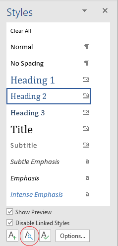 Styles pane showing list of styles with formatting