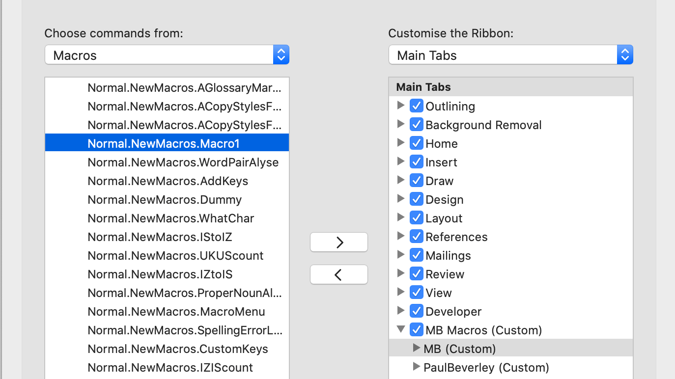 The customise ribbon from the Mac, with Macros selected under 'Choose commands from'